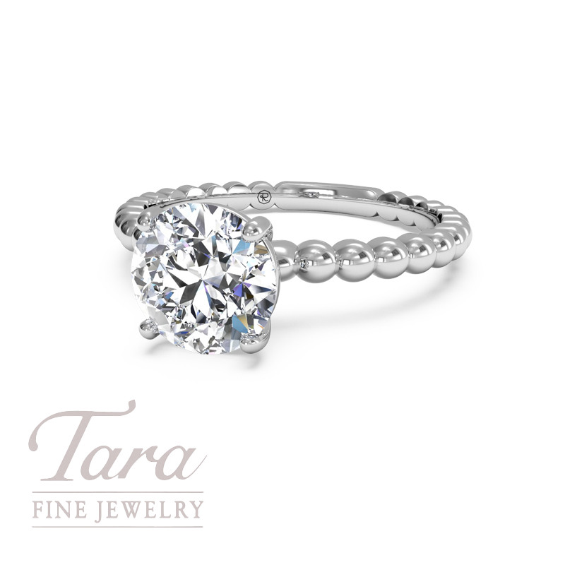 Ritani Classic Diamond Engagement Ring in 18K White Gold  .03TDW (Center Stone Sold Separately)