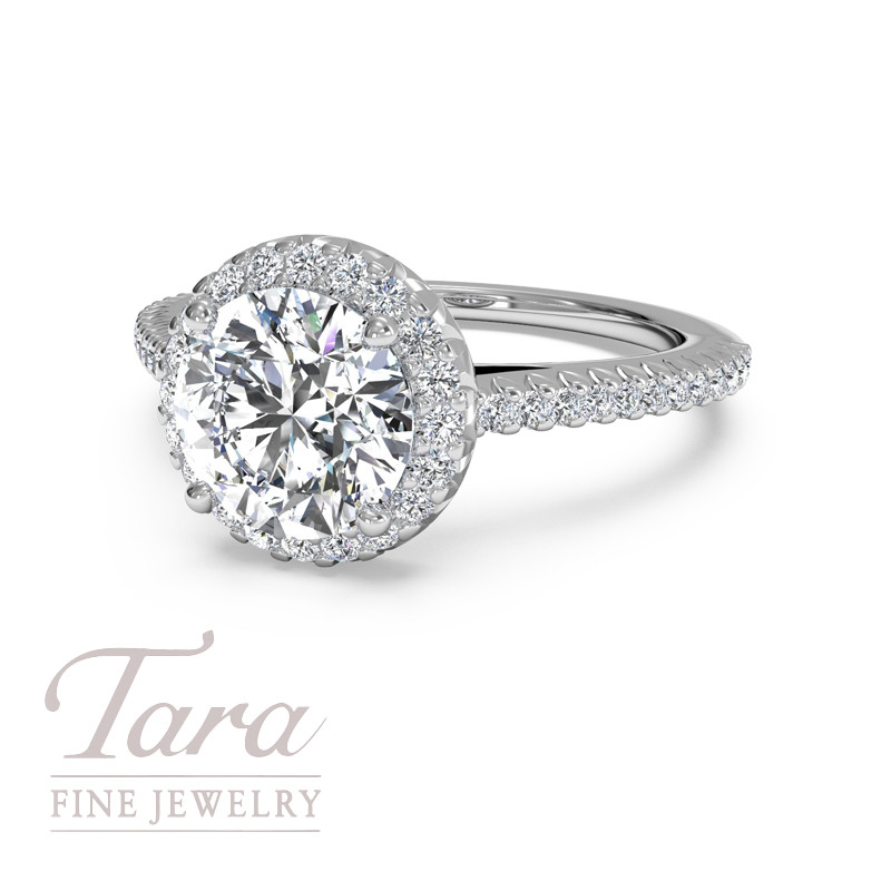 Ritani Diamond Engagement Ring in 18K White Gold .21TDW (Center Stone Sold Separately)