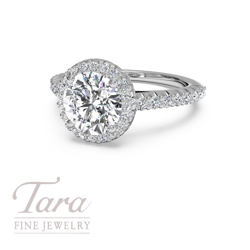 Ritani Diamond Engagement Ring in 18K White Gold .39TDW (Center Stone Sold Separately)