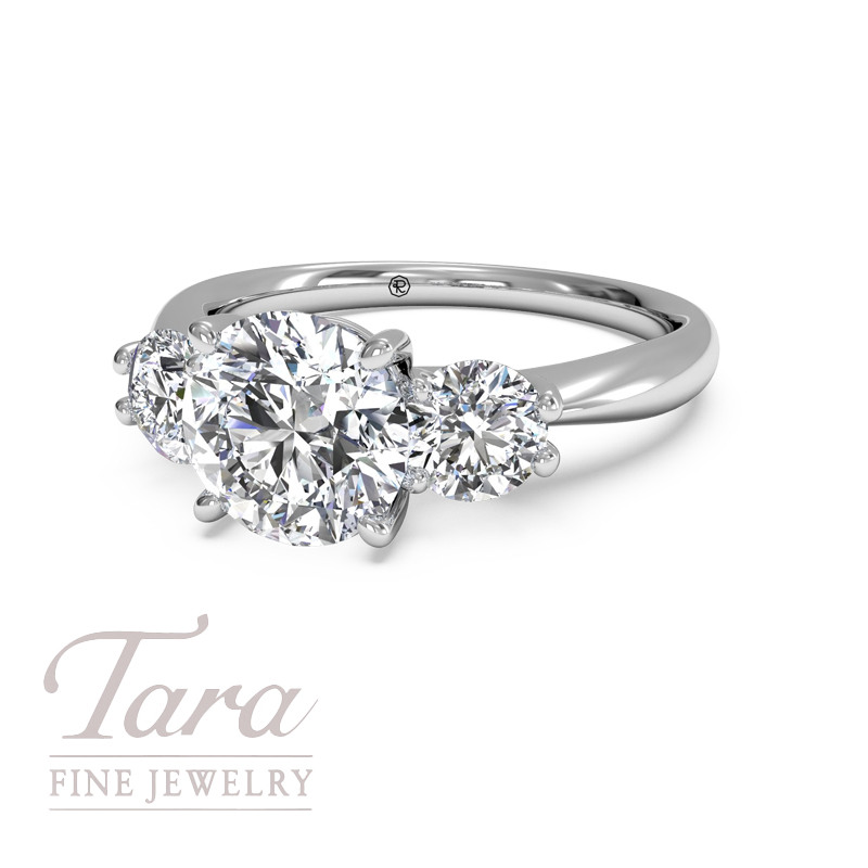 Ritani Diamond Engagement Ring in 18K White Gold Three Stone Royal (Center Stone Sold Separately) .50TDW