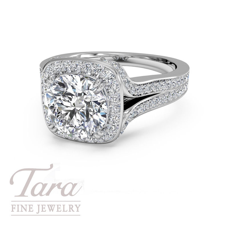 Ritani Diamond Engagement ring .43TDW in 18K White Gold (Center Stone Sold Separately)