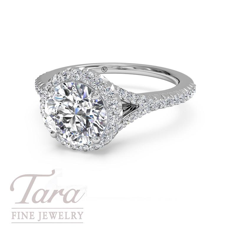 Ritani Diamond Halo Engagement Ring in 18K White Gold .26TDW (Center Stone Sold Separately)