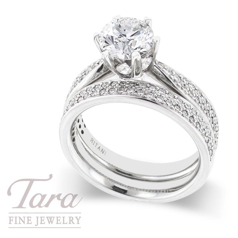 Ritani Diamond Wedding Set, .83 TDW