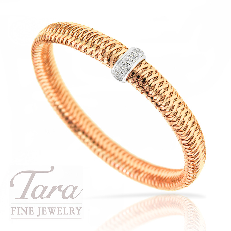 "Roberto Coin 18K Rose Gold Diamond Bracelet .18TDW ""Primavera"" Collection"