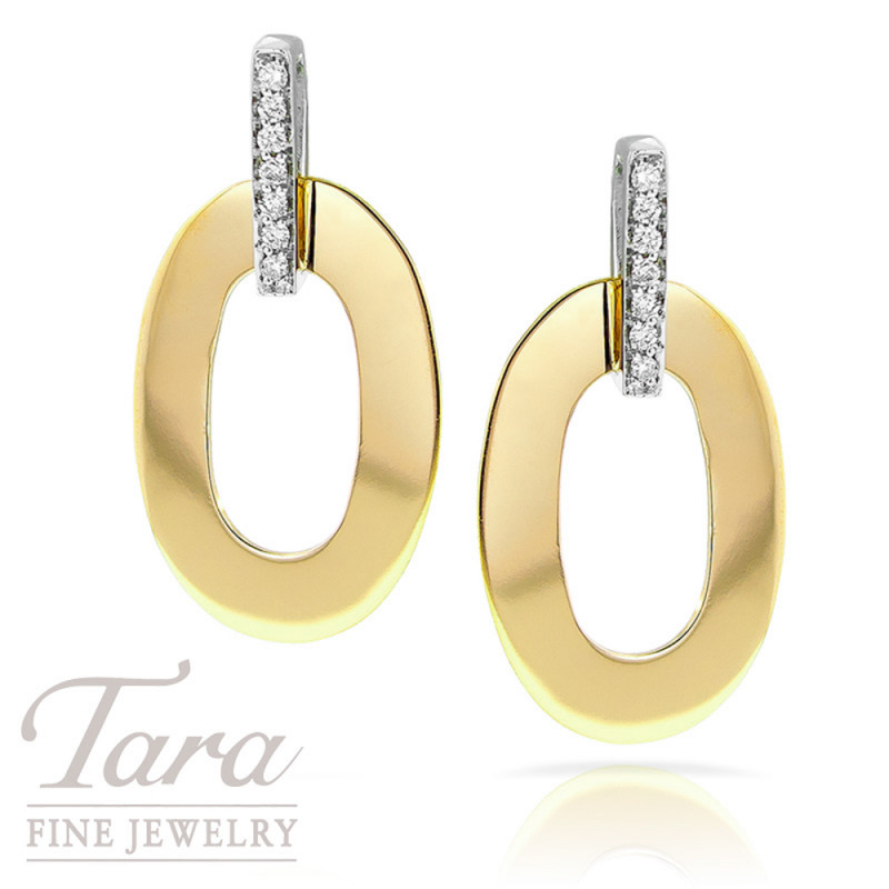 "Roberto Coin 18K Two Tone Earrings, ""Chic and Shine"" Collection"