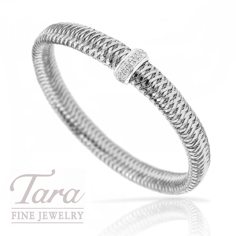 """Roberto Coin 18K White Gold Diamond Bracelet, .18TDW """"Primavera"""" Collection"""