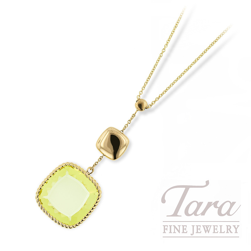 Roberto Coin Necklace, 18K Yellow Gold with Lemon Quartz