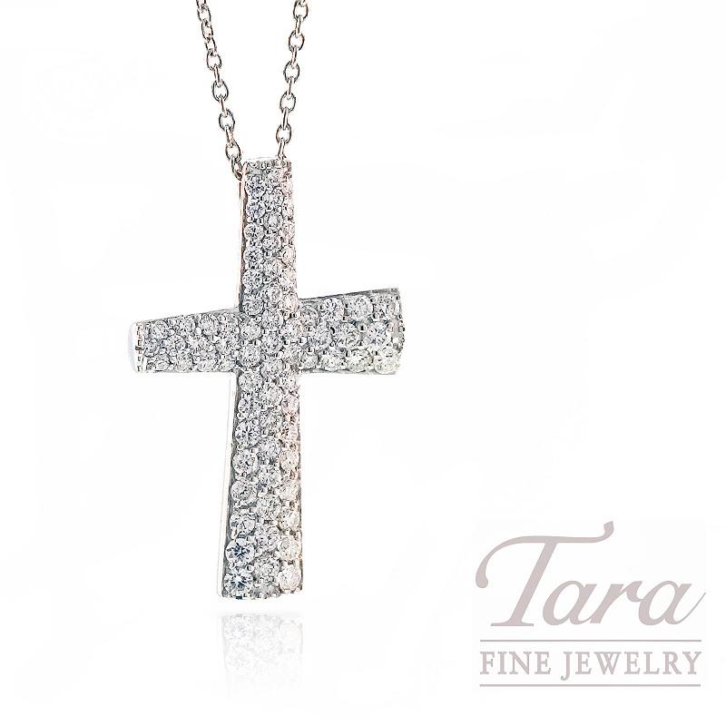 Roberto Coin Diamond Cross Pendant in 18k White Gold, .60tdw