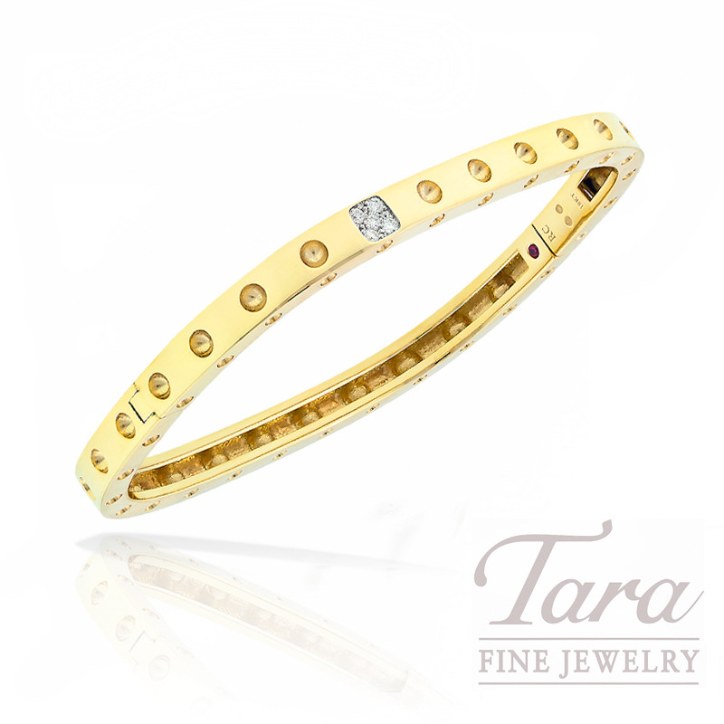 """Roberto Coin Bangle in 18K Yellow Gold with Diamonds, .07tdw, """"Pois Moi Collection"""""""
