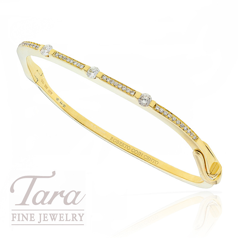 Roberto Coin Diamond Bangle in 18k Yellow Gold, .44tdw