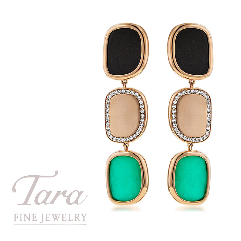 Roberto Coin Black Jade and Agate Earrings in 18K Rose Gold .38TDW