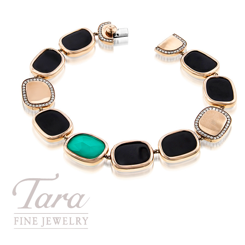 Roberto Coin Black Jade and Agate Bracelet in 18K Rose Gold .54TDW
