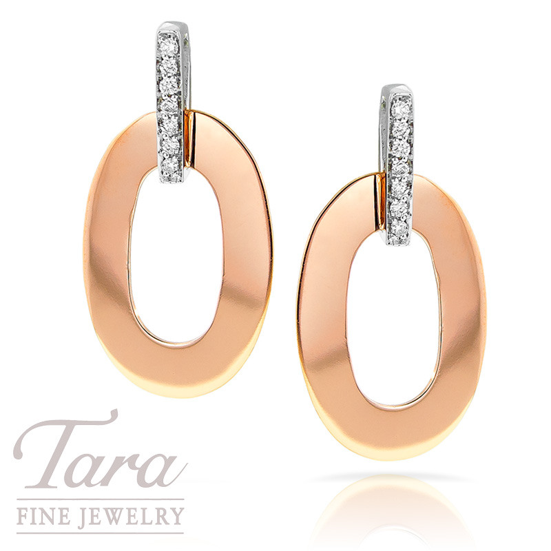 Roberto Coin Rose Gold Chic and Shine Earrings .16TDW 14 Round Diamonds