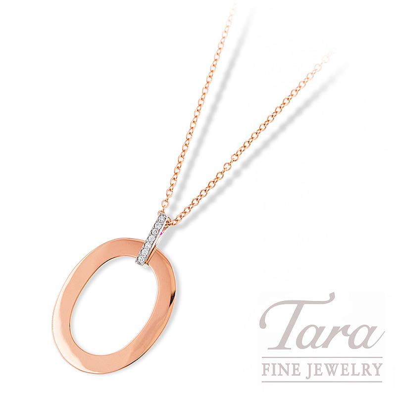 "Roberto Coin ""Chic and Shine"" Necklace 18K Rose Gold, .08TDW 16/18"""
