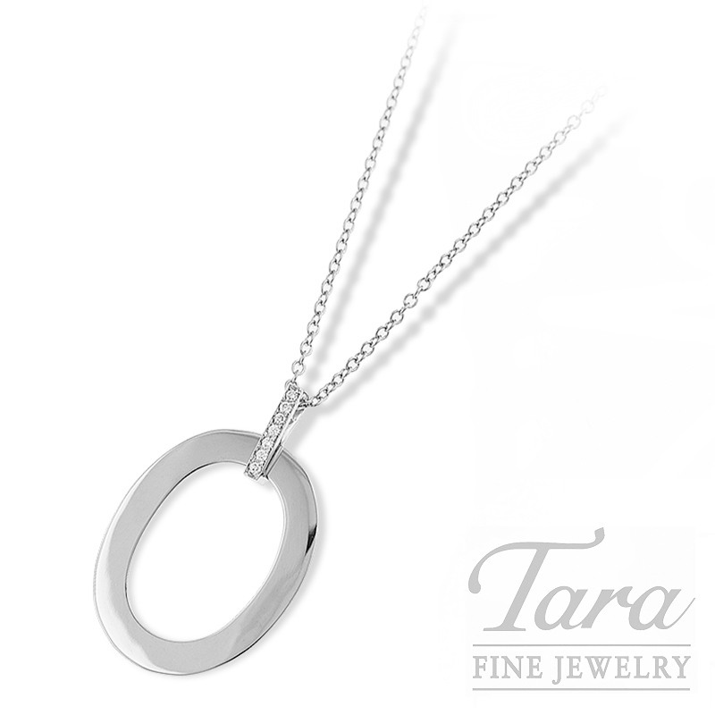 """Roberto Coin """"Chic and Shine"""" Necklace 18K White Gold, .08TDW 16/18"""""""