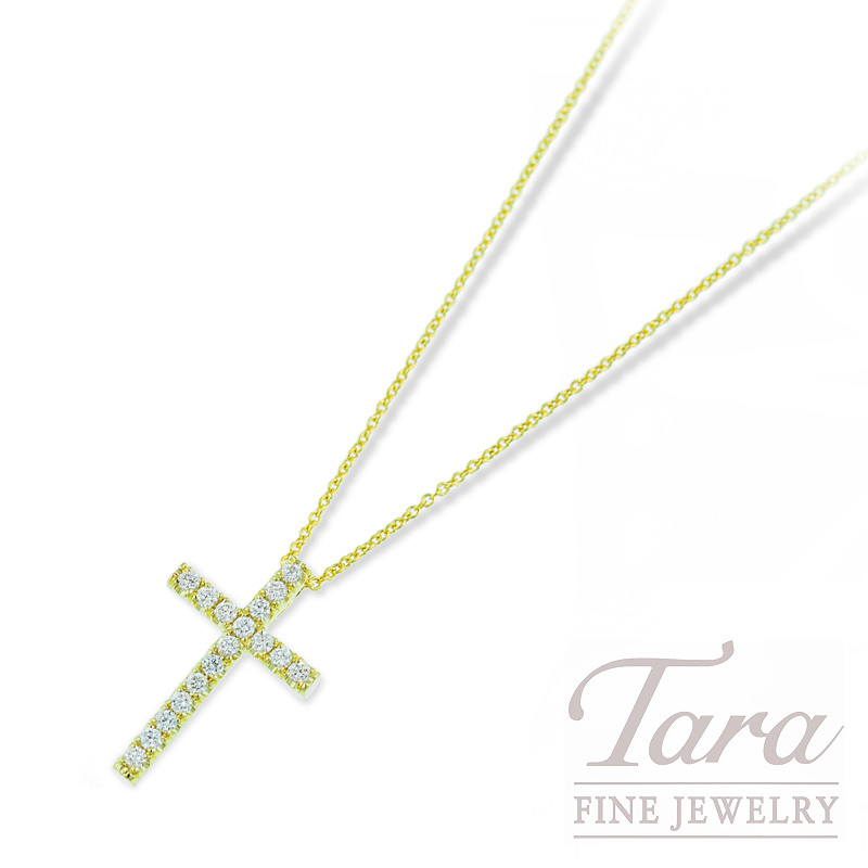 Roberto Coin Diamond Cross and Chain in 18K Yellow Gold .23TDW