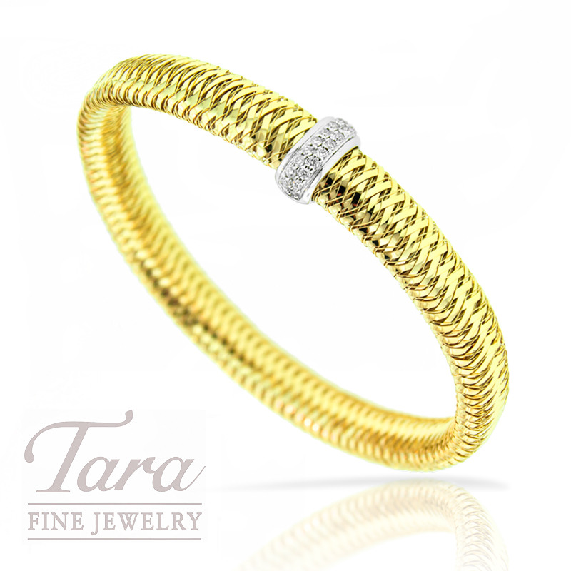 Roberto Coin Primavera Diamond Bangle 18K Yellow Gold .18TDW