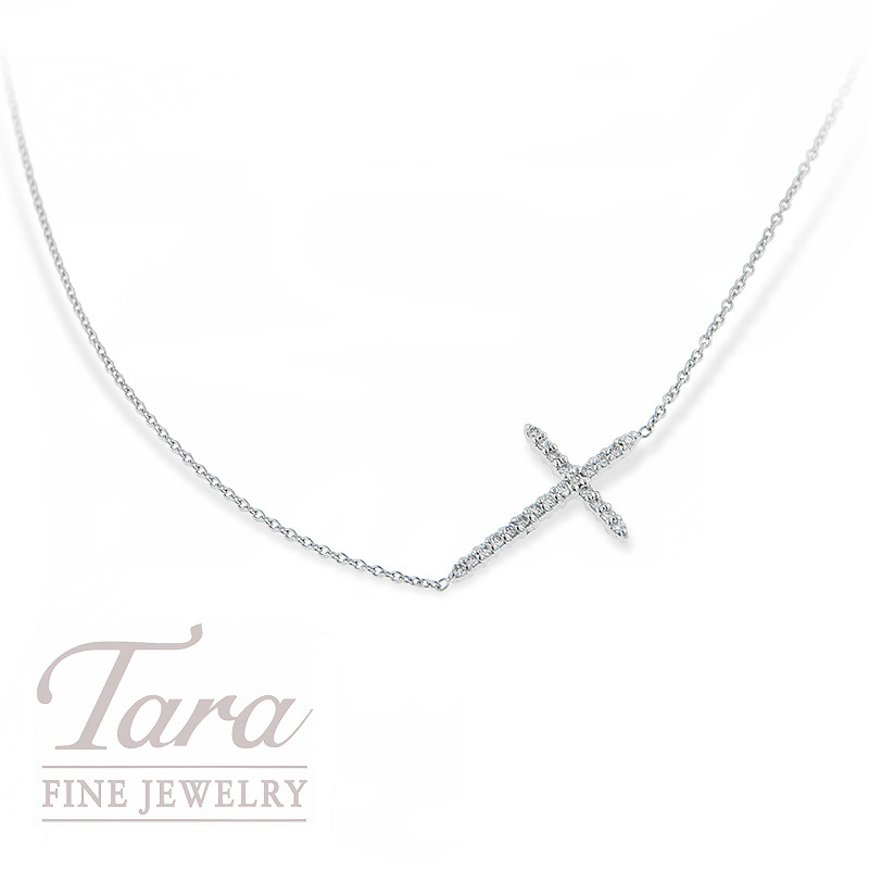 Roberto Coin Silver Cross Pendant with Side Chain .10TDW