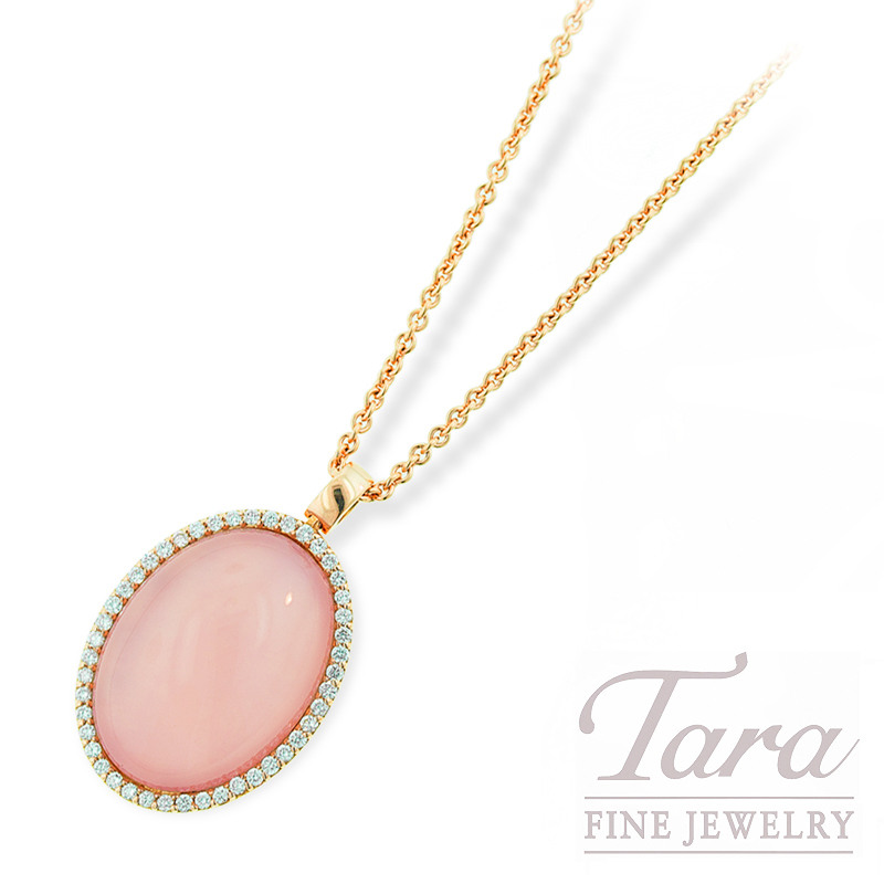 Roberto Coin Pink Quartz and Diamond Necklace, Rose Gold 18K .39TDW