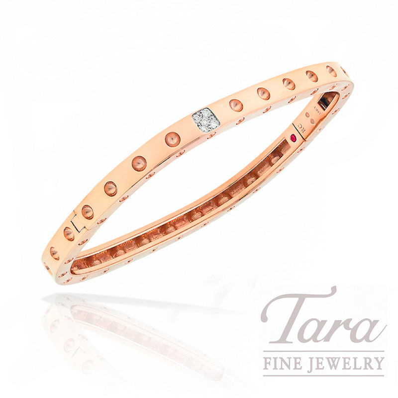 Roberto Coin Diamond Bangle, 18K Rose Gold .07TDW Pois Moi Collection 19.3G