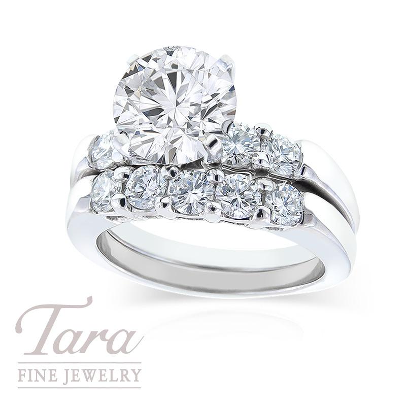 Diamond Wedding Set in Platinum, 1.27 TDW (Center stone sold separately)