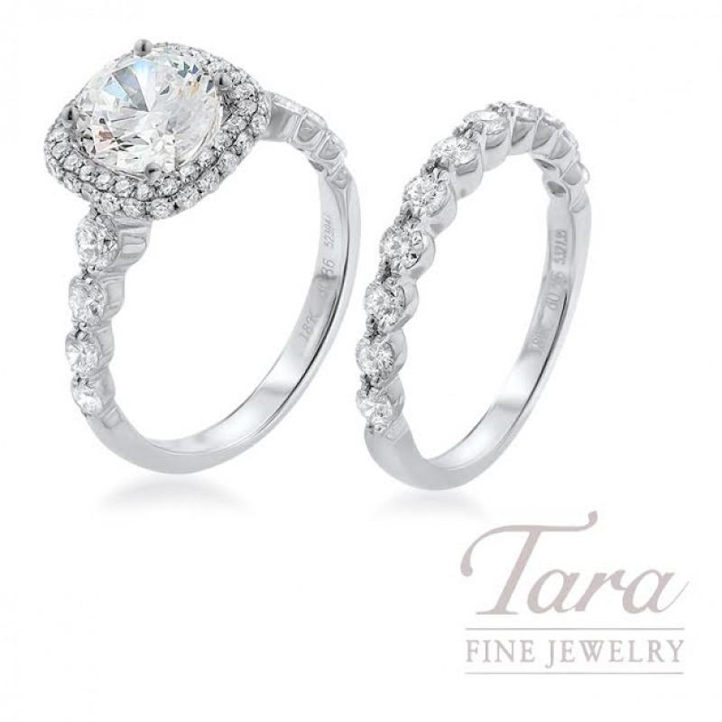 Simon G 18K White Gold Diamond Halo Wedding Set (Center Stone Sold Separately) - Click For Available Sizes