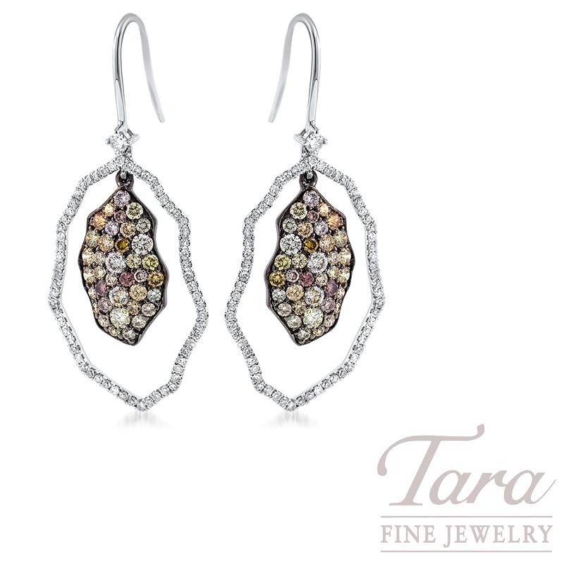 Simon G Fancy Color and White Diamond Dangle Earrings in 18K White Gold .58TDW White, 1.47TDW Fancy