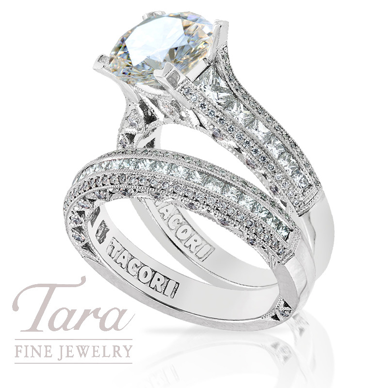 Tacori Diamond Engagement Ring in Platinum, 1.38tdw & Band, .63tdw (Center stone sold separately)