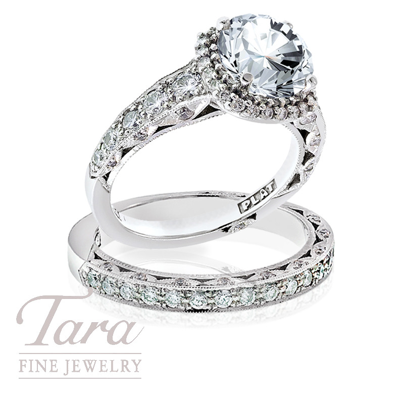 Tacori Diamond Engagement Ring, .91 TDW & Tacori Band, .33 TDW (Center stone sold separately)