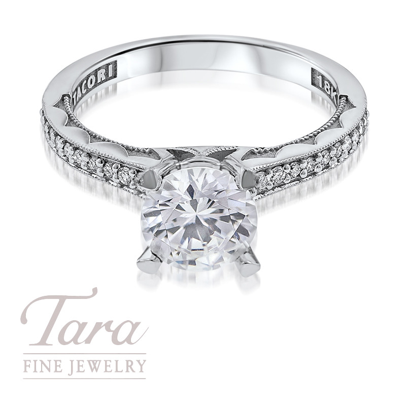 Tacori Diamond Engagement Ring in 18K White Gold .10TDW (Center Stone Sold Separately)