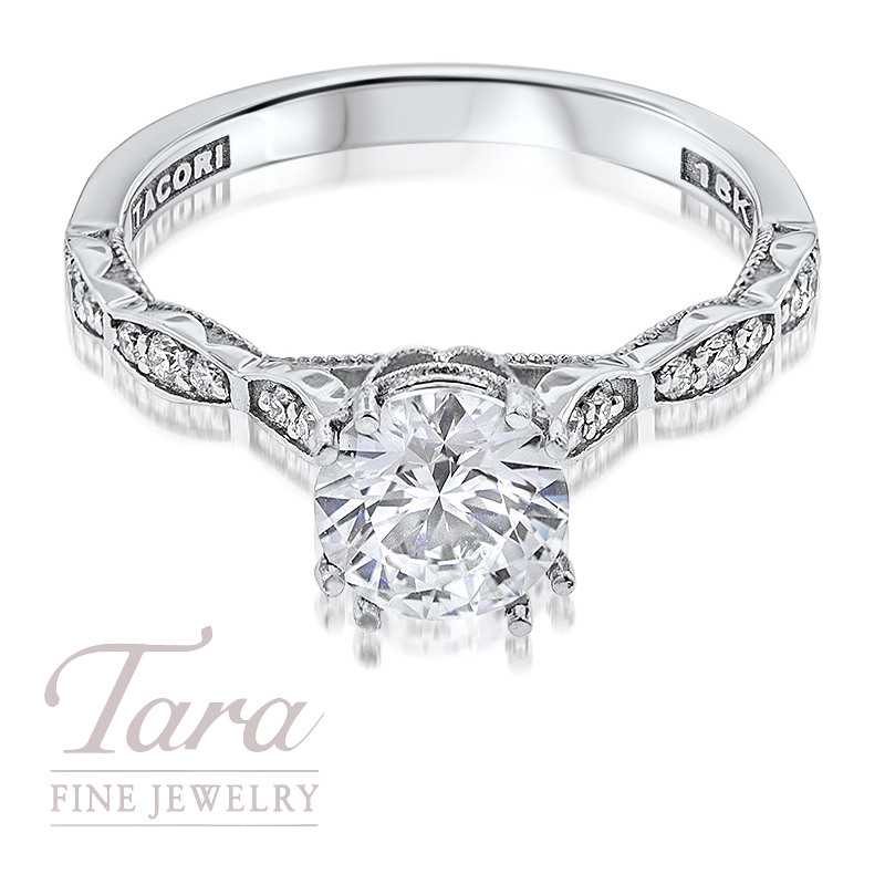 Tacori Diamond Engagement Ring in 18K White Gold .16TDW (Center Stone Sold Separately)