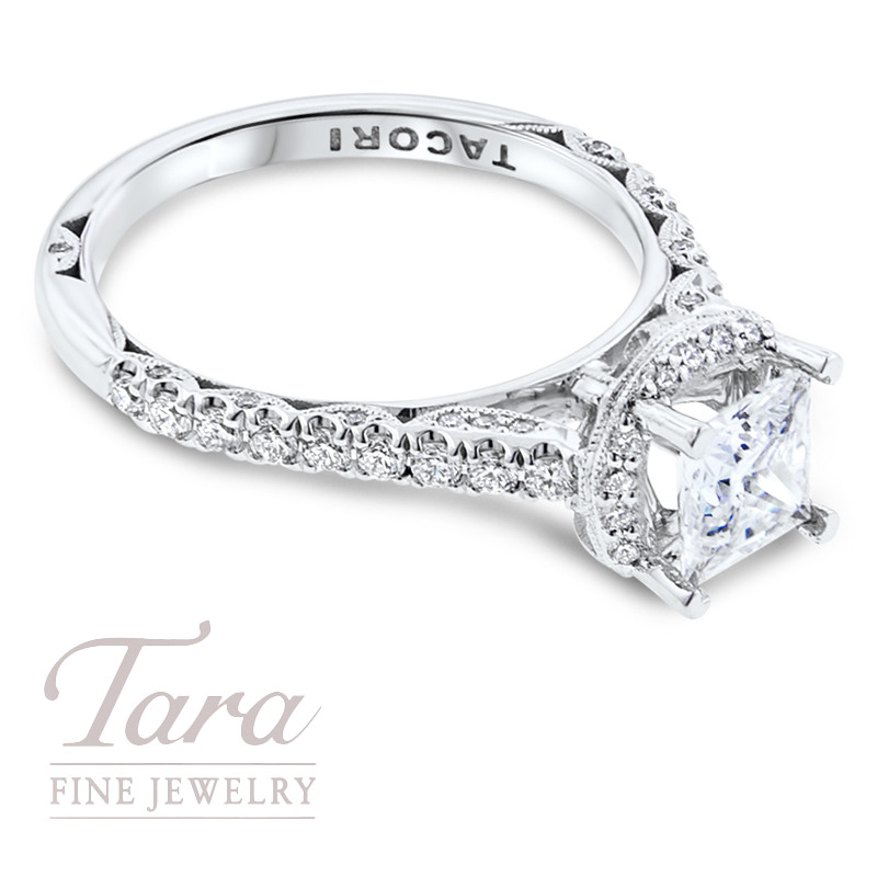 Tacori Diamond Engagement Ring in 18K White Gold .48TDW (Center Stone Sold Seaprately)