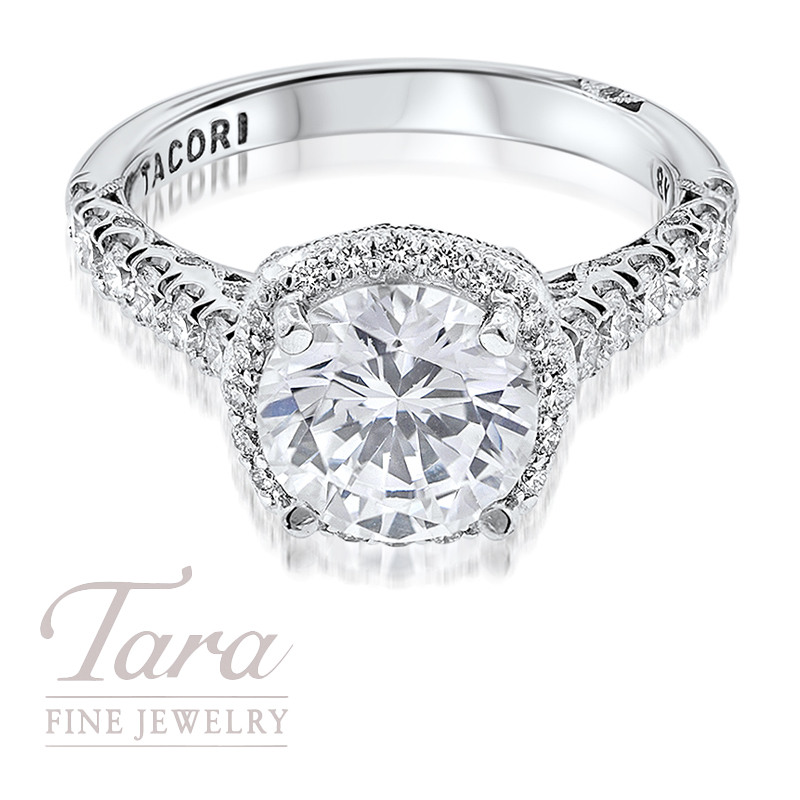 Tacori Diamond Engagement Ring in 18K White Gold .77TDW (Center Stone Sold Separately)