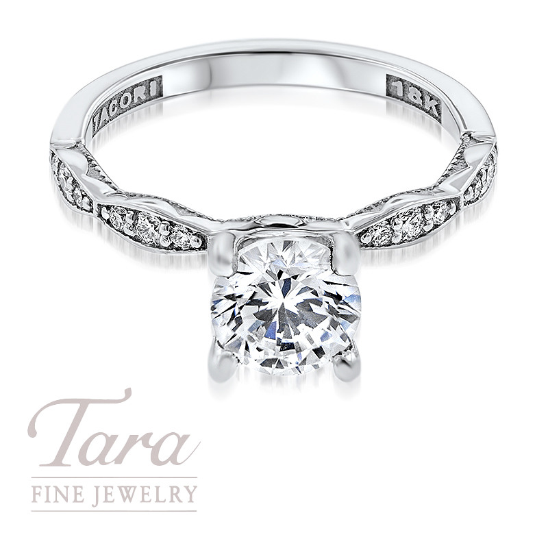 Tacori Diamond Engagement Ring in 18K White Gold 1.15TDW (Center Stone Sold Separately)