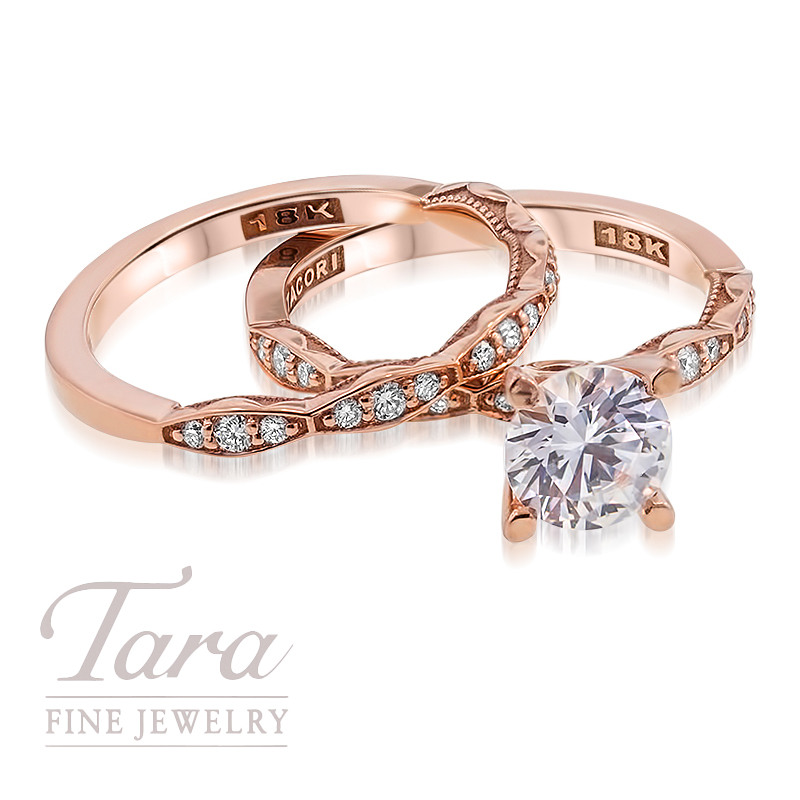 Tacori Diamond Wedding Set in 18K Rose Gold .17TDW Ring .17TDW Band (Center Stone Sold Separately)