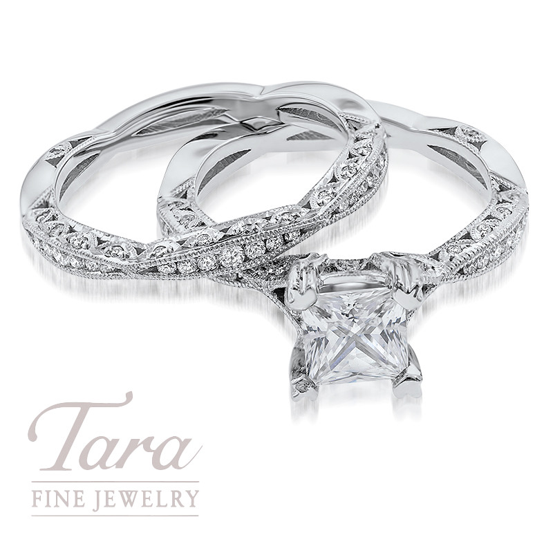 Tacori Diamond Wedding Set in 18K White Gold .28TDW Ring, .23TDW Band (Center Stone Sold Separately)