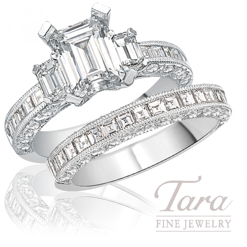 Tacori Diamond Engagement Ring & Band in 18K White Gold, 1.90 CT TW (Center stone sold separately).