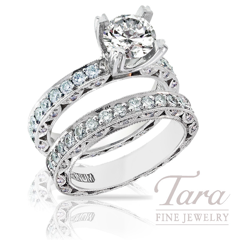 Tacori Diamond Bridal Set in Platinum, 2.00 TDW (Center stone sold separately)