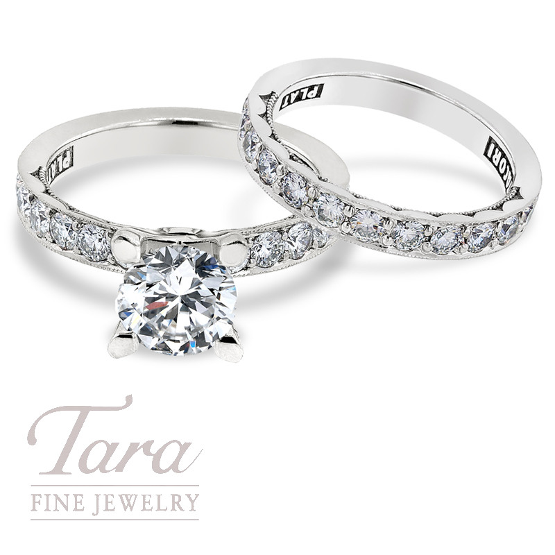 Tacori Diamond Engagement Ring, .64ct tdw & Band, .63 TDW in Platinum (Center stone sold separately)