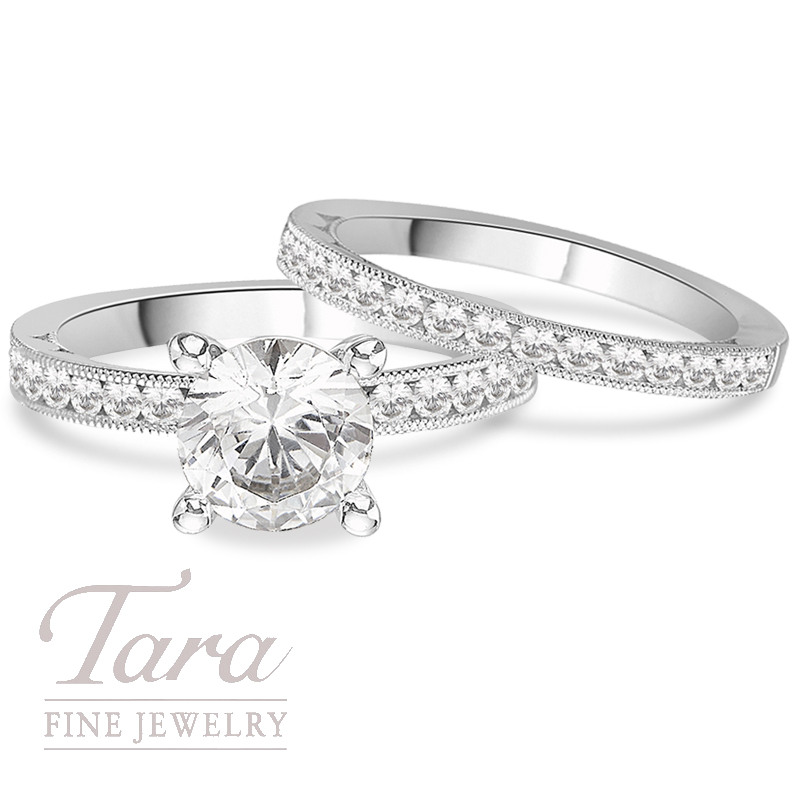 Tacori Diamond Wedding Set in Platinum,  .86 CT TW (Center stone sold separately).