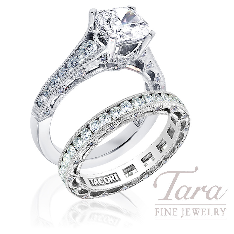 Tacori Diamond Engagement Ring, .62ct tdw & Eternity Band, .97tdw (Center stone sold separately)