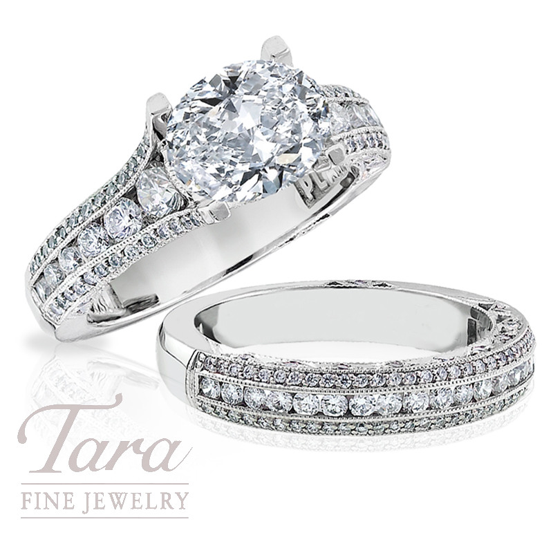 Tacori Diamond Engagement Ring in Platinum, .90 TDW with Matching Band, .55 TDW. (Center Stone Sold Separately)
