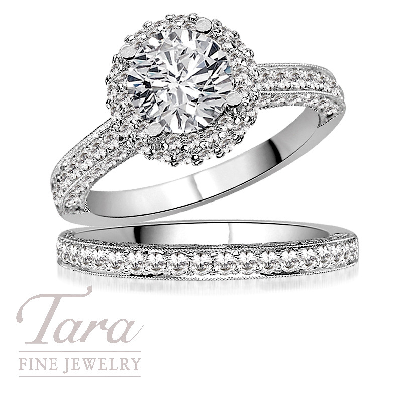 Tacori Wedding Ring and Band in 18K White Gold, .98 CT TW (Center stone sold sparately).