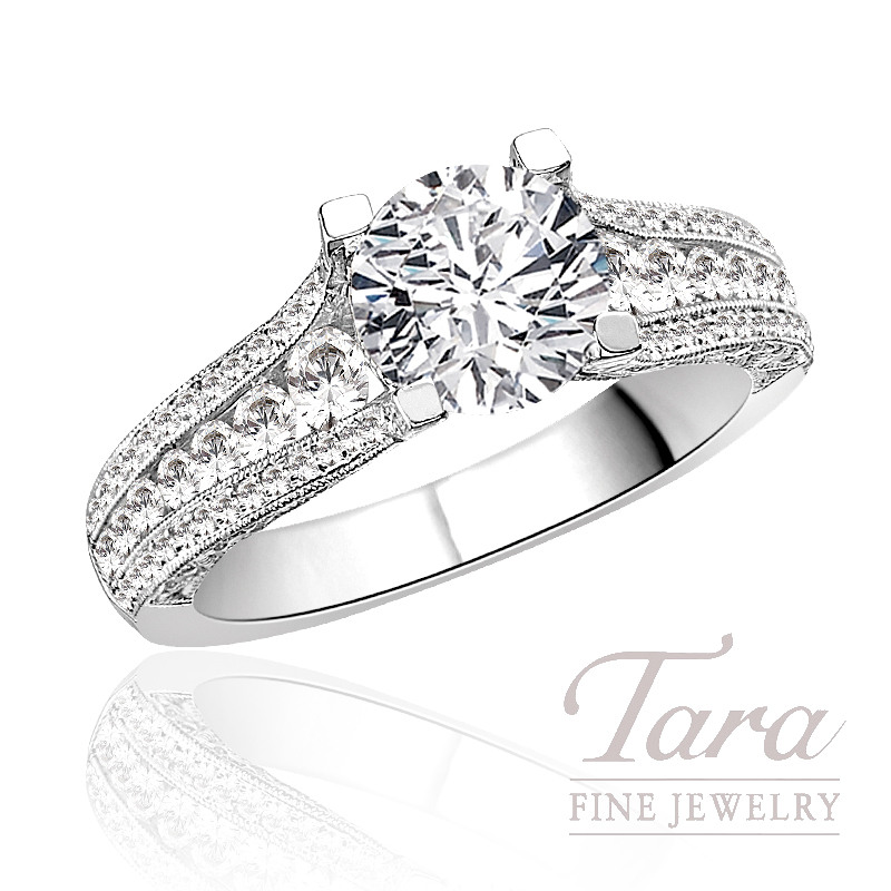 Tacori Diamond Wedding Ring in 18K White Gold, .70 CT TW (Center stone sold separately).