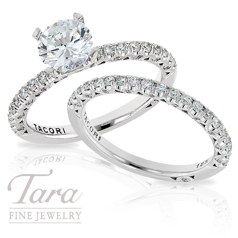 tacori engagement ring band in 18k white gold