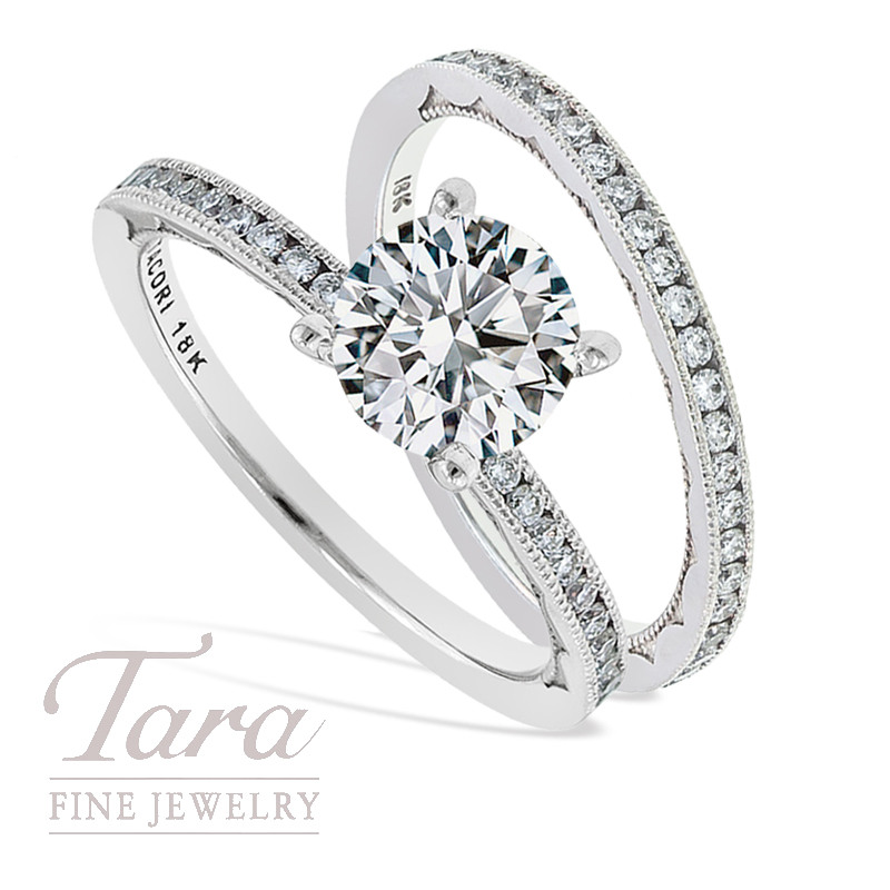 Tacori Diamond Wedding Ring & Band in 18k White Gold, .40 TDW (Center stone sold separately)