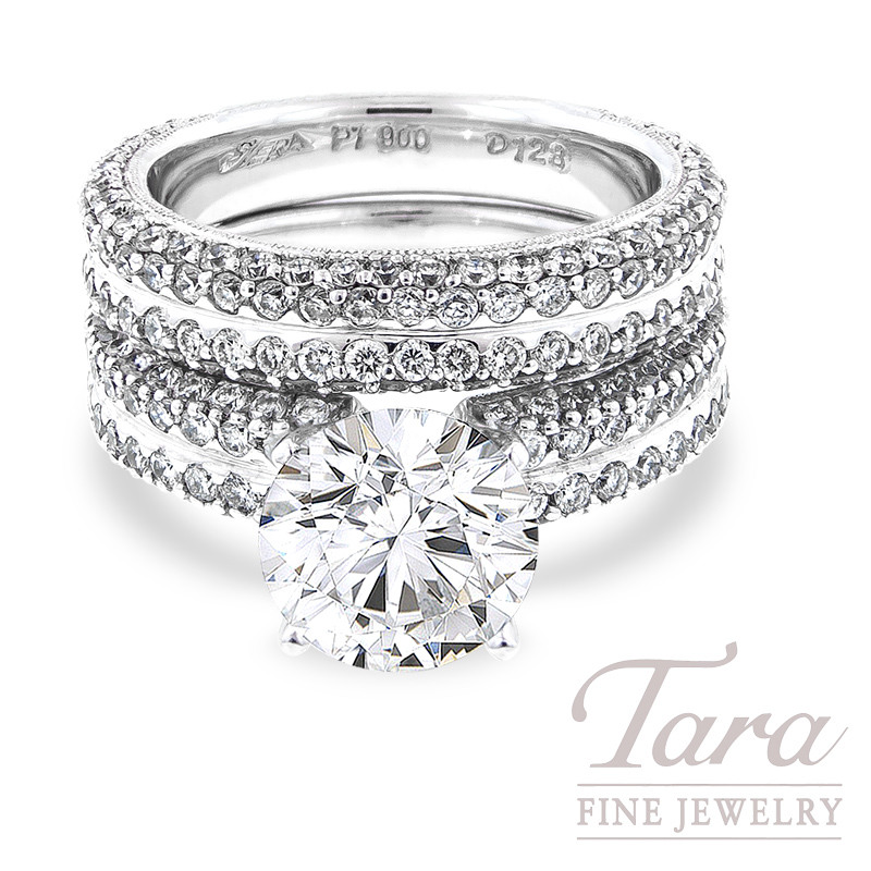 Diamond Ring Wedding Set, Platinum, 2.30 TDW (Center stone sold separately)