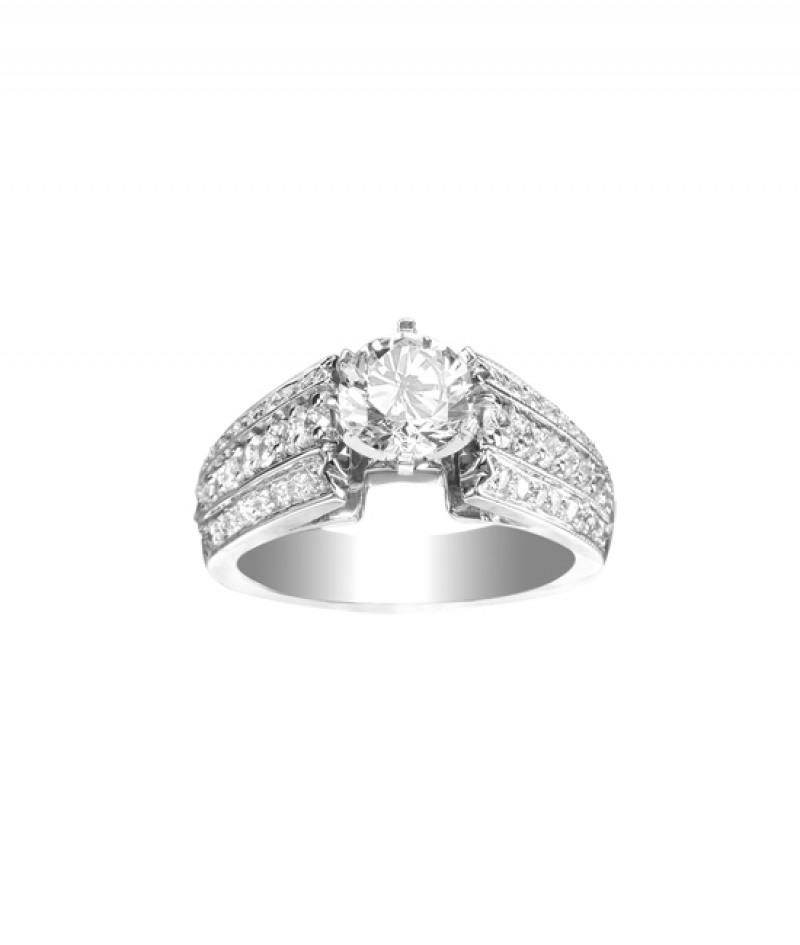 Diamond Wedding Ring in 18K White Gold, .75CT TW. (Center Stone Sold Separately)