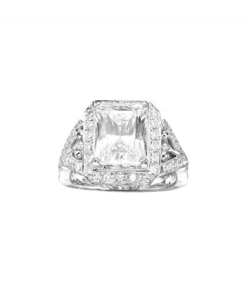 Diamond Wedding Ring in 18K White Gold, 1 1/4CT TW. (Center Stone Sold Separately)