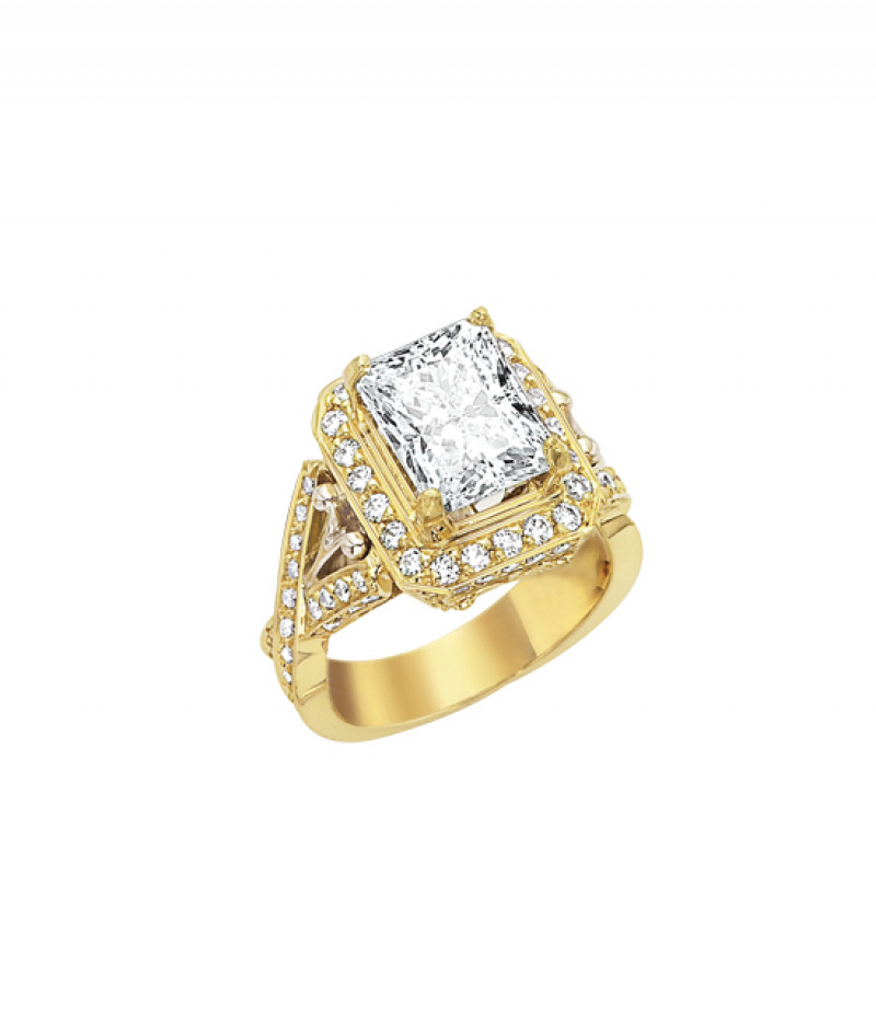 Diamond Wedding Ring in 18K Yellow Gold, 1.04CT TW. (Center Stone Sold Separately)